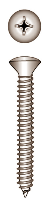 Cross recessed tapping screw, raised countersunk head, din 7983,